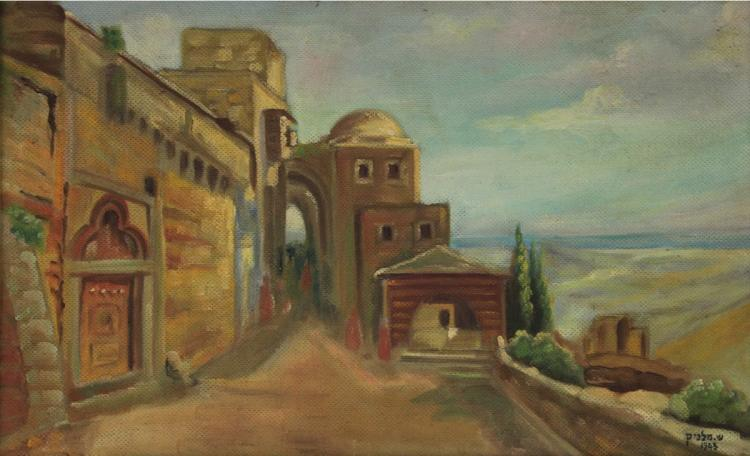Shmuel Melnik (1885-1943) - Landscape, Oil on Masonite, 1943.