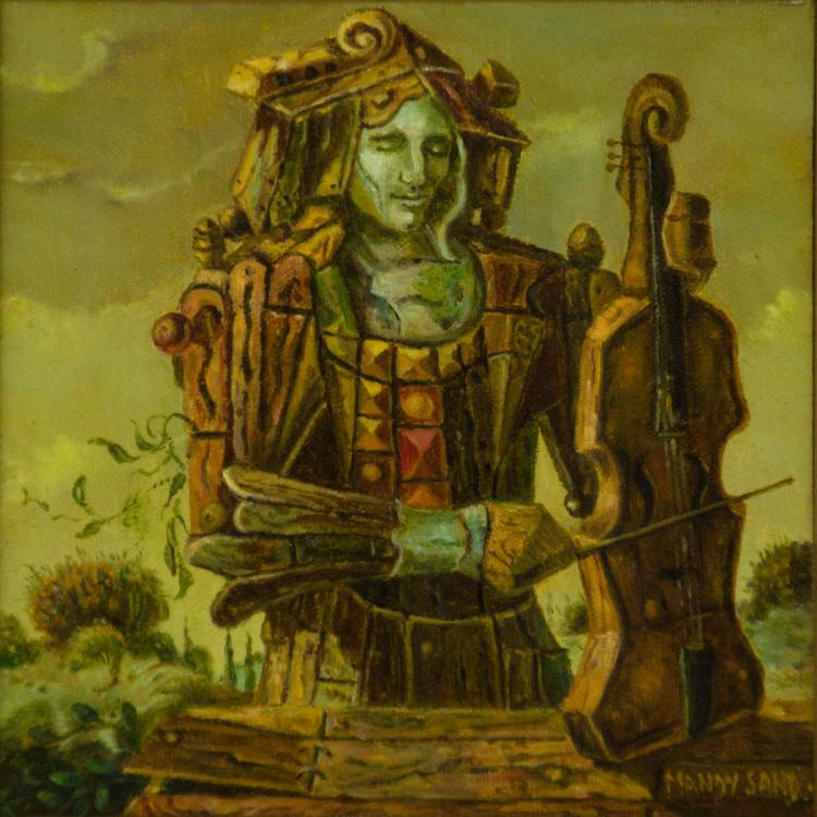 Mandy Sand (1932-2004) - Wood Fiddler, Oil on Canvas Mounted on Board, 1984.