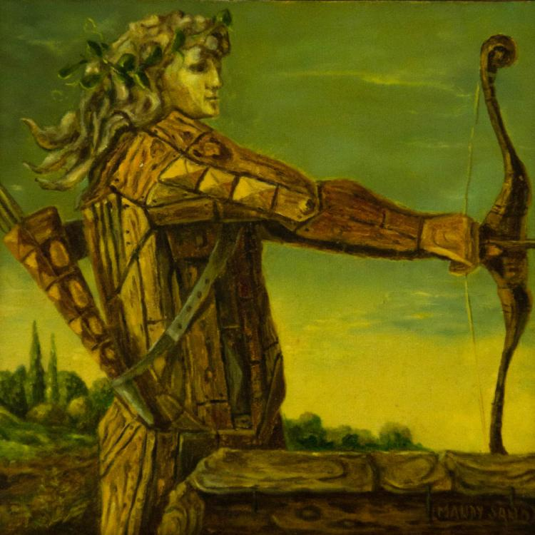 Mandy Sand - Wood Bowman, Oil on Canvas Mounted on Board, 1985.