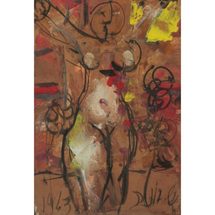 Shmuel Boneh - Nude, Mixed Media on Paper, 1963.