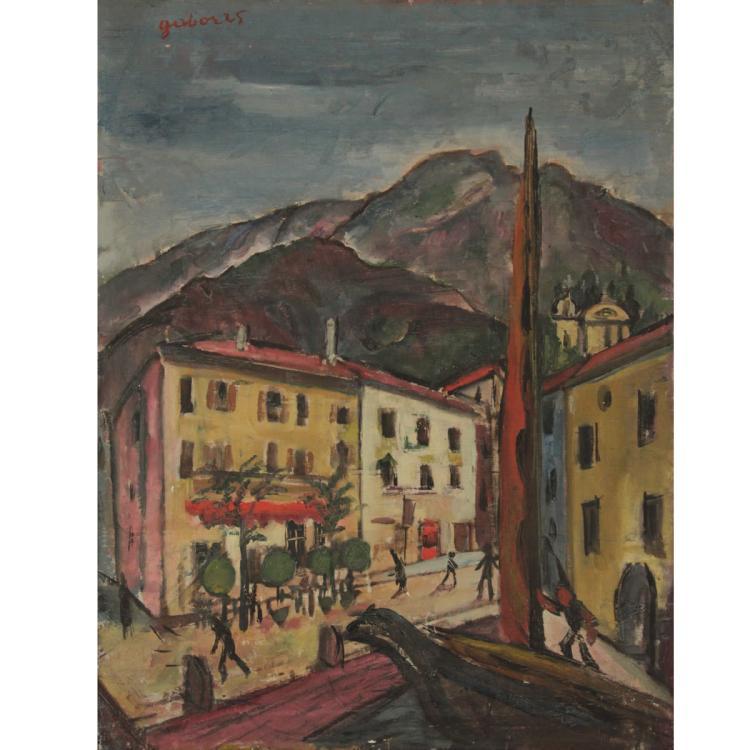 Laszlo Gabor (1895-1938) - Urban Landscape, Oil on Canvas, 1925.