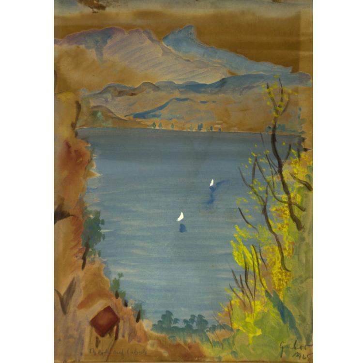 Laszlo Gabor - Landscape, Watercolor on Paper, 1925.