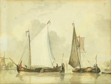 MARTINUS SCHOUMAN (DUTCH, 1770-1848) - BOATS IN THE HARBOR, WATERCOLOR ON PAPER.