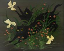 Carlos Perteagudo (b.1937) - Cats, Oil on Masonite.