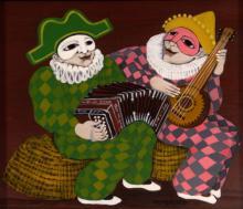 Carlos Perteagudo (b.1937) - Clowns, Oil on Masonite.