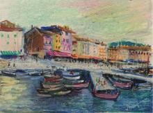 Lucien Neuquelman (1909-1988) - St. Tropez, Pastel on Paper.