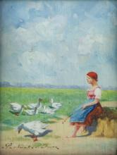 Imre Perlmutter (Hungary, 1892-1935) - Woman with Geese, Oil on Board.