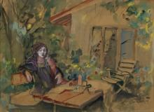 Esther Perez-Arad (1921-2005) - Woman in the Garden, Watercolor and Pastel on Paper.