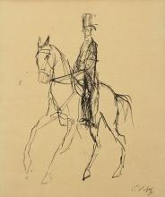 Paul Holz (Germany, 1883-1938) - Gentleman on a Horse, Ink on Paper.