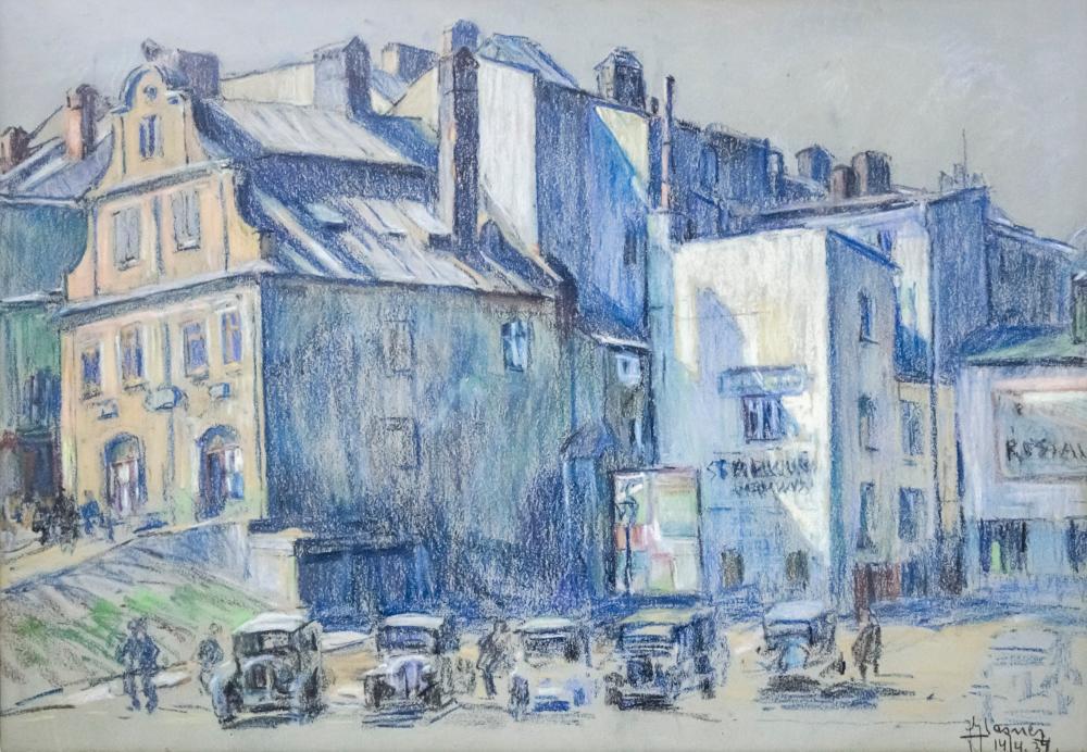 JAKOB GLASNER (POLAND, 1879-1942) - STREET VIEW, PASTEL ON PAPER, 1937.