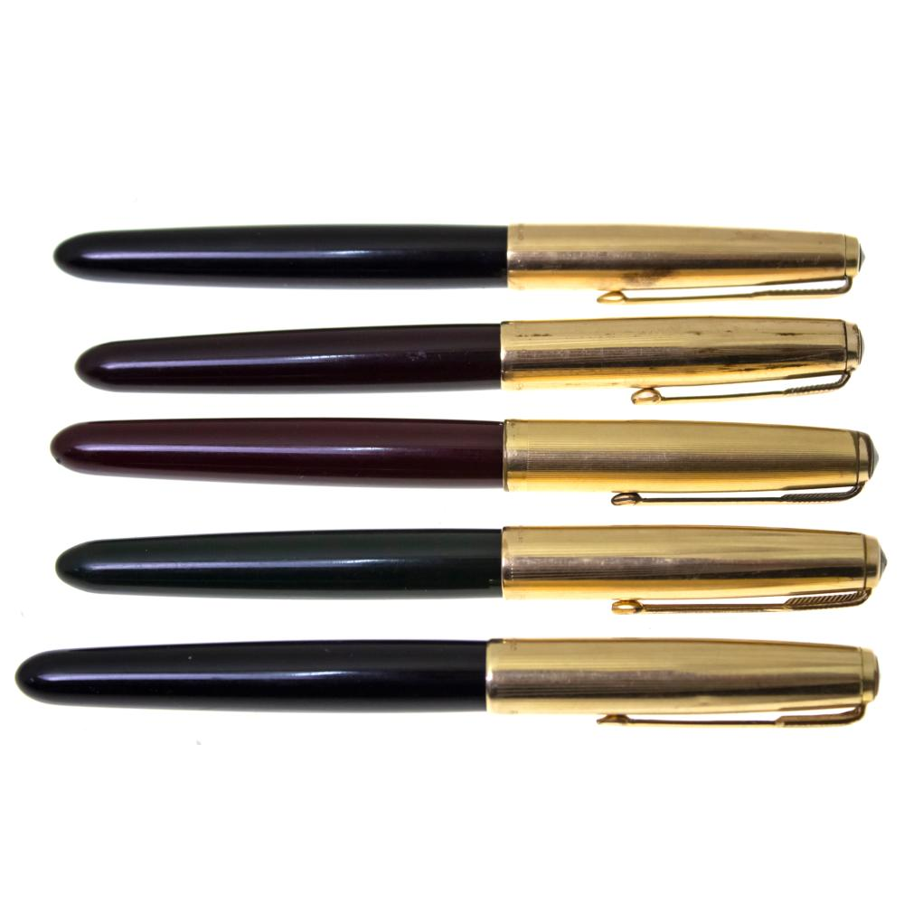 LOT OF 5 PARKER 51 FOUNTAIN PENS.