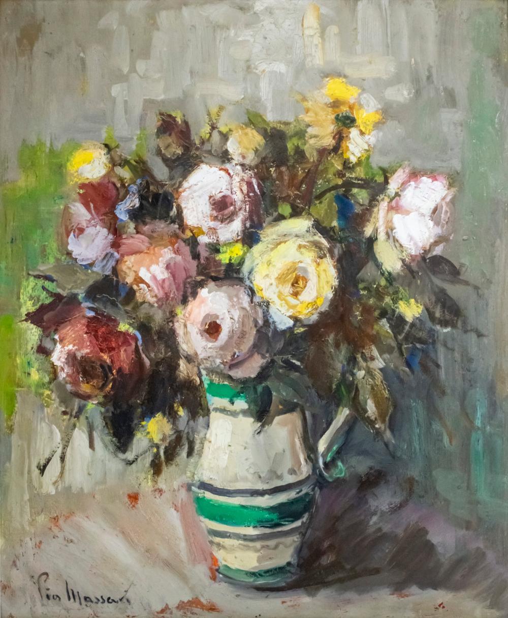 PIA MASSACI CAPSUNEANU (ROMANIAN, 1908-1992) - FLOWERS, OIL ON BOARD.