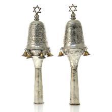 Pair of Silver Torah Finials Rimonim, Judaica.
