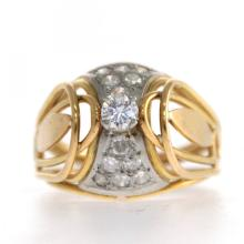 18k Yellow Gold and Diamond Ring.