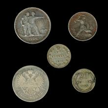5 Russian Silver Coins.