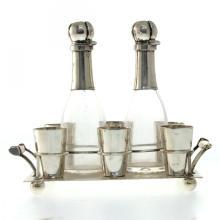 Silver Liqueur Set, Wilhelm T Binder Germany Circa 1900