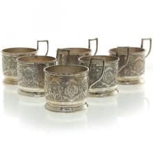 6 Persian Silver Glass Holders Set, Circa 1970.