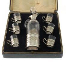 Sterling Silver & Glass 7pcs Liqueur Set, London, 1924.
