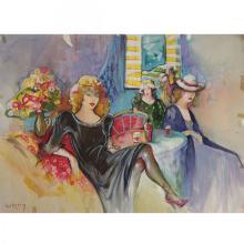 Gerti Rubinstein - Girls Girls, Watercolors and Pastel.