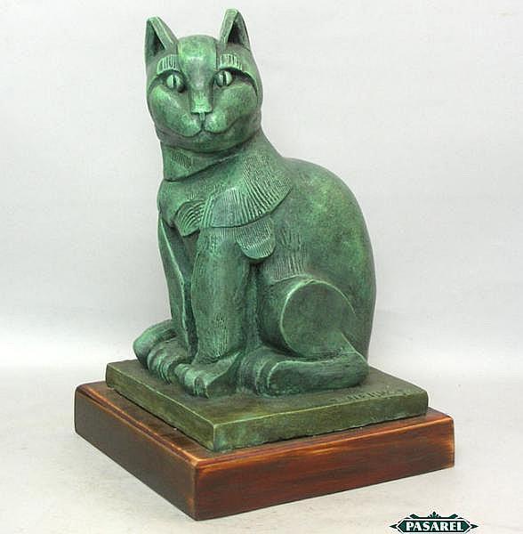 Eliezer Weishoff Bronze Cat Sculpture, Israel.