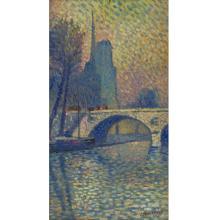 Lucien Neuquelman (1909-1988) - Notre Dame, Oil on Board.