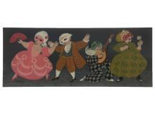 Carlos Perteagudo (b.1937) - Masked Ball, Oil on Masonite.