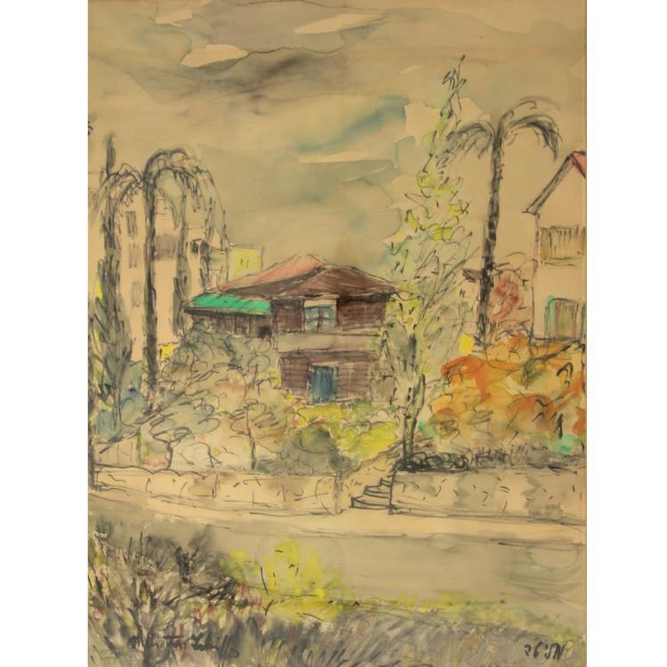 Melita Shifer (1900-1991) - Street View, Watercolor on Paper.