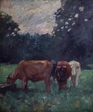 THOMAS HERBST (GERMAN, 1848-1915) - COWS, OIL ON BOARD.