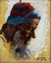 ABRAHAM ADOLF BEHRMANN (POLISH, 1876-1942) - YEMENITE JEW, OIL ON BOARD.