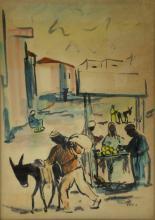 David Hendler (1904-1984) - Market, Watercolor on Paper.