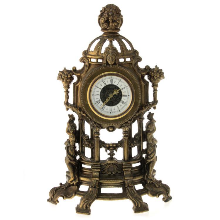 Vintage Mantel Clock, Brass, West Germany on European Antiques Furniture
