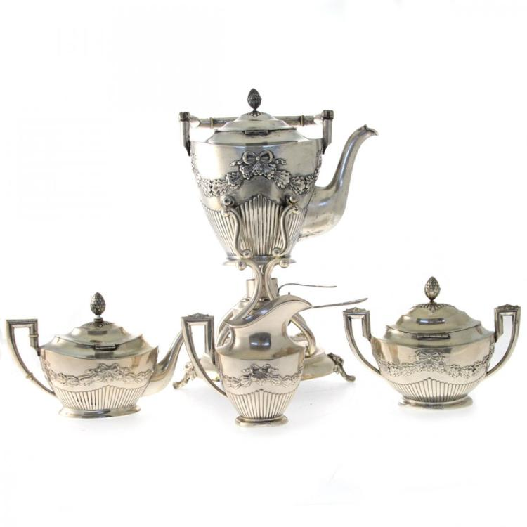 Silver 4pcs Tea Coffee Set, Julius Lemor Breslau Ca1890