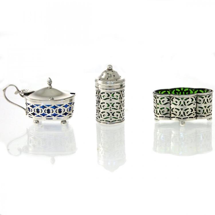 Edwardian Sterling Silver 3 Condiment Containers.