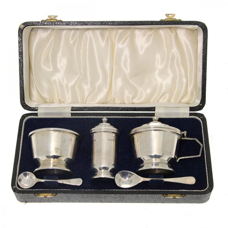 Art Deco Sterling Silver Condiment Set, 1947.