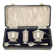 Art Deco Sterling Silver Condiment Set, 1947.
