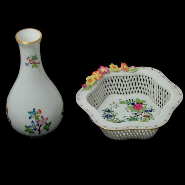 Herend Porcelain Vase and Bowl.