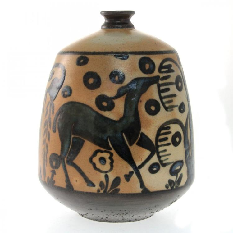 Primavera Deer with Weeping Willow Art Deco Vase.