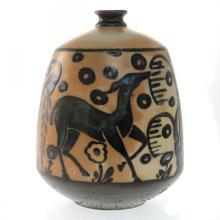 Primavera Deer with Weeping Willow Art Deco Vase.