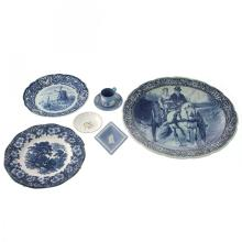 6 Delft and Wedgwood Plates.