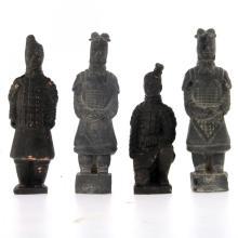 Four Terracotta Soldiers Miniature Figurines.