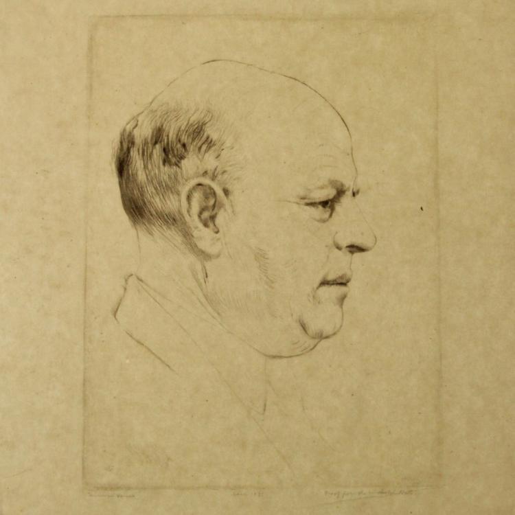 Hermann Struck - Bialik Profile Portrait, Etching, 1935