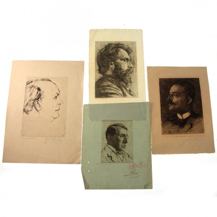 Hermann Struck - 4 Portraits Etchings.