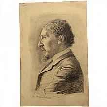 Hermann Struck - Profile Portrait, Pencil on Paper 1904
