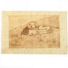 Hermann Struck - Rabbi Meir Baal HaNes Tomb, Etching.