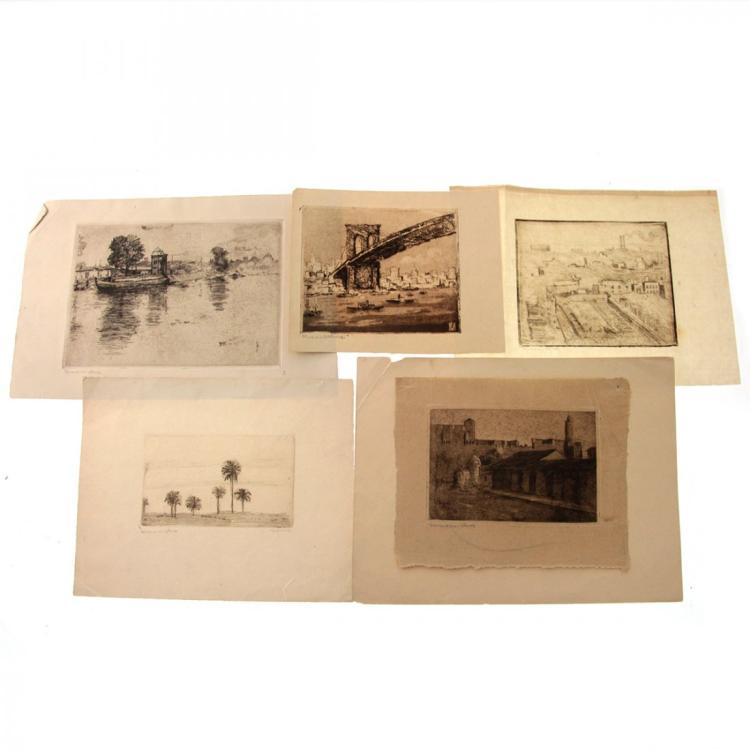 Hermann Struck - 5 Landscape Etchings.