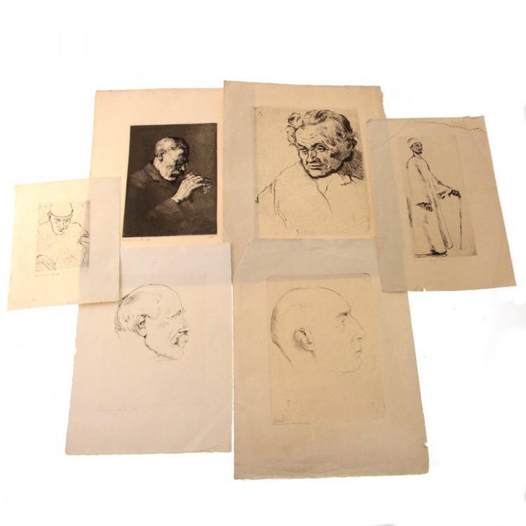 Hermann Struck - 6 Figures Etchings.