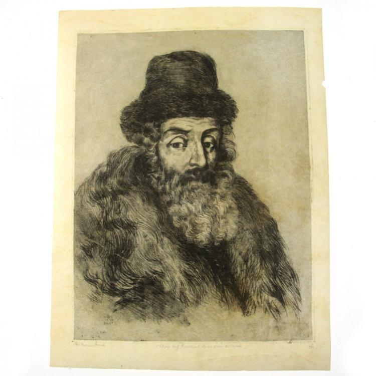 Hermann Struck - Rabbi Akiva Eger, Etching on Parchment.