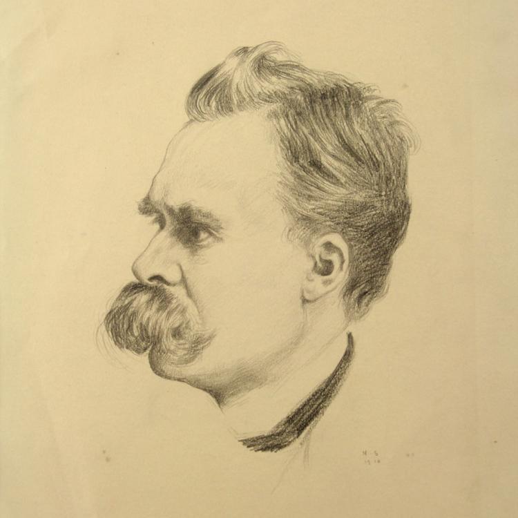 Hermann Struck - Friedrich Nietzsche Portrait, Pencil.