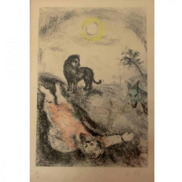 Marc Chagall - Prophet Killed by a Lion, Etching.