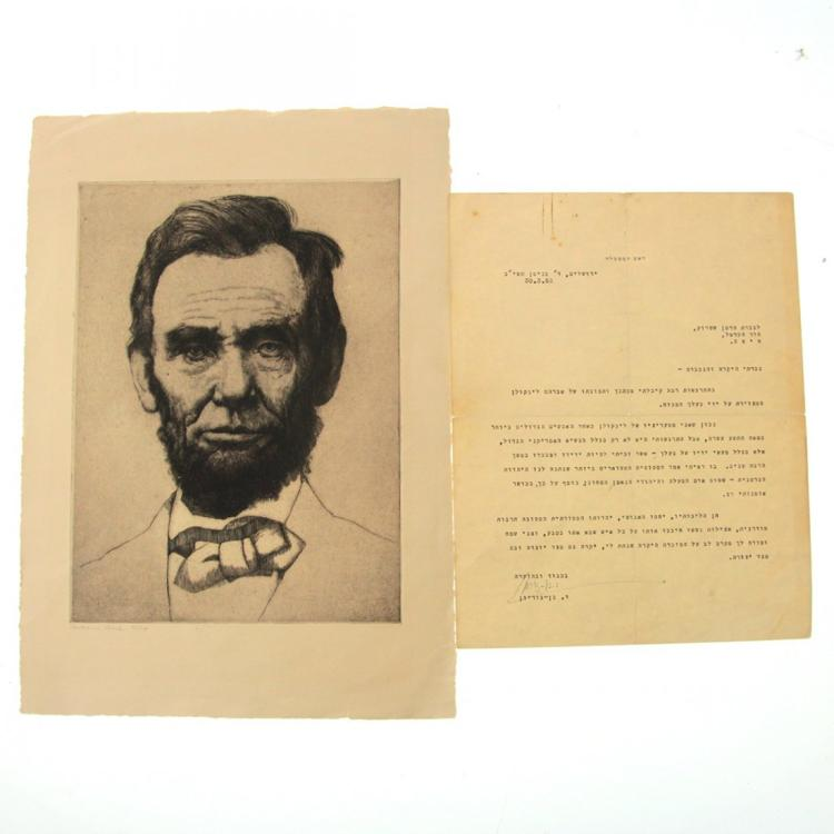 Hermann Struck - Lincoln Portrait & Ben Gurion Letter.